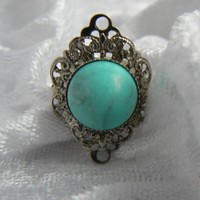 Silver Tone And Faux Turquoise Ring