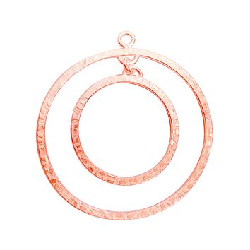 FRG-163 Rose Gold Overlay Chandelier Earring Finding Big & Small Round Ring Shape