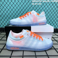 KUYOU A074 Adidas fashion transparent mesh canvas shoes White Orange