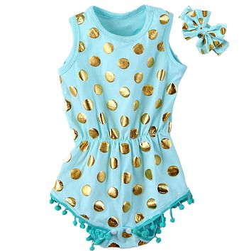 Baby Girl Mint and Gold Pom Pom Summer Romper With Headband