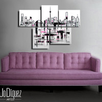 """Made to order. Original abstract painting. 5 piece canvas art. 29x41"""" Large painting of Toronto's skyline. Modern wall art. Skyline painting"""