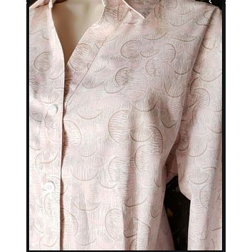 Chicos  Wrinkle Resistant Lorena Geo Shell Pink Sand LS Shirt