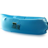 6ft Easy Inflate BreezyBed inflatable Hammock, Holds up to 440lbs, Convenient Side Pockets, Portable Stowaway BagBlue)