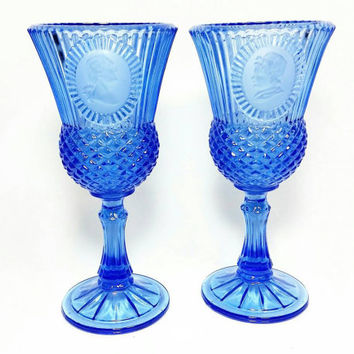 Vintage Avon Fostoria Cobalt Blue Glass Goblet Candleholders George and Martha Washington by Frosteria/Candle Holder (Set of Two)