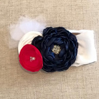 Red White and Blue Knit Flowered Headband