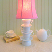 Teacup Lamp, Three Stacked Tea Cups with Saucers Teapot Lamp Country Shabby Chic Beach Cottage, Alice In Wonderland Inspired