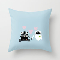 pixar walle and eve love and romance... minimalistic Throw Pillow by studiomarshallarts