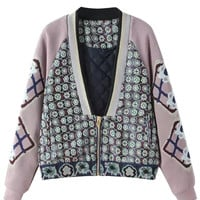 Multicolor Zip Up Embroidery Tribe Pattern Padded Coat