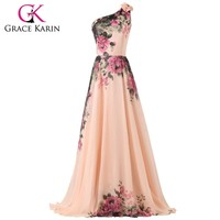 Grace Karin 2017 Robe De Soiree Chiffon Flower Printed Evening Dresses Mixed Style Floor Length Party Gown Formal Prom Dress