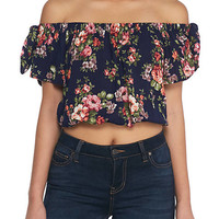 Polly & Esther Crepon Short Sleeve Floral Off The Shoulder Top