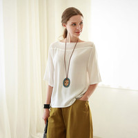 White Sleeve Chiffon Blouse And yellow brown Culotte Pants