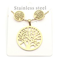 Timberland Stylish Women Simple Stainless Steel Necklace Earrings Set Accessories Jewelry Golden