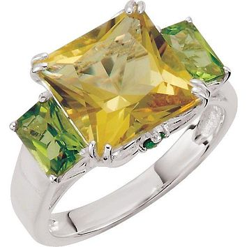 Sterling Silver Lime Quartz, Peridot & Chrome Diopside Ring