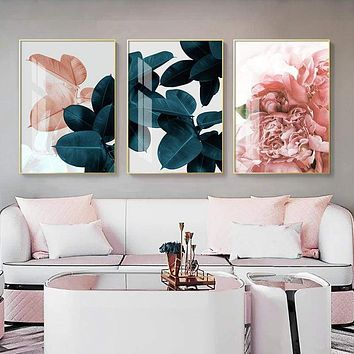 Pink Green Flower Leaf Nordic Poster Wall Art Canvas Painting Abstract Posters and Prints Wall Pictures for Living Room Decor|Painting & Calligraphy