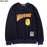 BAPE x NBA Tide brand new round neck long sleeve sweater navy blue