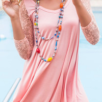 Take This To Heart Lace Quarter Length Sleeve Peach Dress