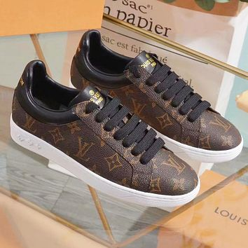 LV Louis Vuitton Fashion Woman Casual Leather Shoes Flats Shoes Coffee