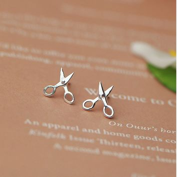 925 STERLING CUTE Small Scissors SILVER EARRINGS