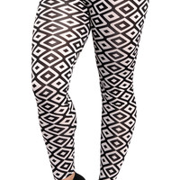 Black & White Squares Leggings Design 304