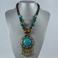 Turquoise Wood Metal Statement Necklace Earrings Set