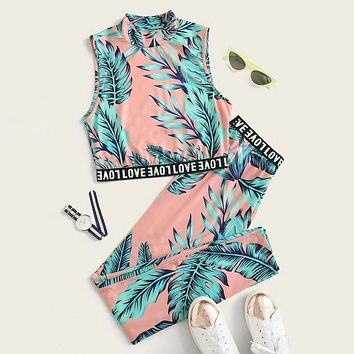 Tropical Print Letter Tape Tank Top and Leggings Set