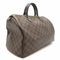 Auth Louis Vuitton Damier Speedy 35 Handbag Brown