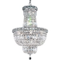 "Tranquil 18"" Diam Chandelier, Chrome Finish, Clear Crystal, Elegant Cut"