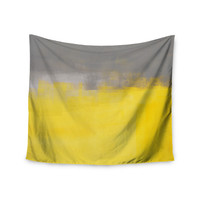 """CarolLynn Tice """"A Simple Abstract"""" Yellow Gray Wall Tapestry"""