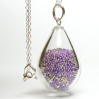 Purple and silver microbeads in tear drop hand blown by thestudio8