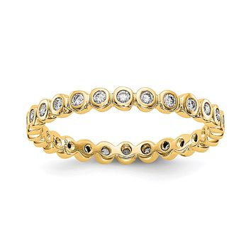 Natural 1/3 Ct. Bezel Set Diamond Eternity Band in 14k Yellow Gold