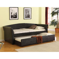 Brand New Contemporary Black Bycast Leather Twin Arm Day Bed Daybed w/ Trundle - Sears