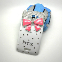 Handmade hard case for HTC ONE X: Bling elegant diamond bow (customized are welcome)