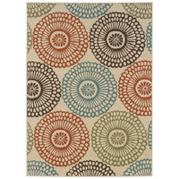 """7'10"""" x 10'10"""" Indoor / Outdoor Beige Area Rug with Colorful Circle Pattern"""