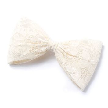 Large Lace Bow Hair Clip   Icing