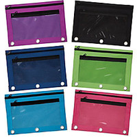 Pencil Pouch With Mesh Window 7 x 9 34 Assorted Colors by Office Depot & OfficeMax