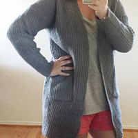 Charcoal Knit Cardigan Sweater