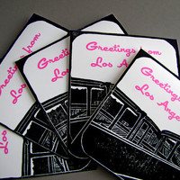 Greetings from Los Angeles Harbor Freeway Greeting Card, Set of 5 Cards with Envelopes