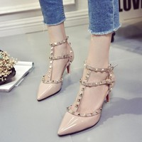 Hasp Rivet heels Women Pumps Ladies Sexy Pointed Toe Fashion Buckle Studded Stiletto High Sandals Shoes Large