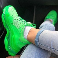 Balenciaga Shoes High Quality Fashion Women Men Letters Contrast Crystal clear shoes Triple sole Shoes Green