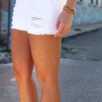 White Distressed Shorties