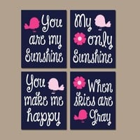 BIRD You Are My Sunshine Wall Art, CANVAS or Prints Baby Girl Nursery Song Rhyme Quote Decor, Girl Set of 4 Decor, Gift for Girl Wall Decor