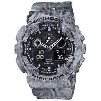 Casio G-Shock Mens Marble Series - Gray Camo - Analog/Digital - Anti-Magnetic