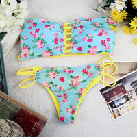 2 Pcs Reversible Floral Bikini Set Swimwear