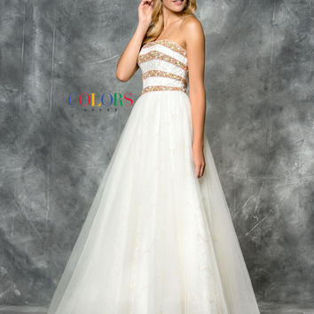 Colors 1718 Strapless A-Line Prom Evening Dress