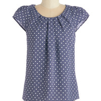ModCloth Nautical Mid-length Cap Sleeves Steal the Show Top in Blue Dots