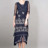 Navy Blue Embroidered Tulle Titanic Dress