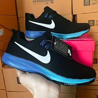 Nike Air Zoom Pegasus 35 Shield Black Blue soles Gradient Running Shoes