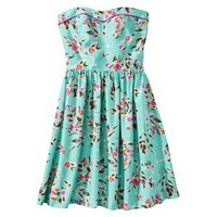 Xhilaration® Juniors Strapless Zip Back Fit and Flare Dress - Turquoise Floral M(7-9)