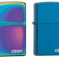 Zippo Lighter Set - Sapphire and Spectrum with Name Logo Pack of 2