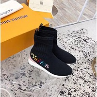 LV Louis Vuitton Women's Flyknit High Top Sneakers Shoes